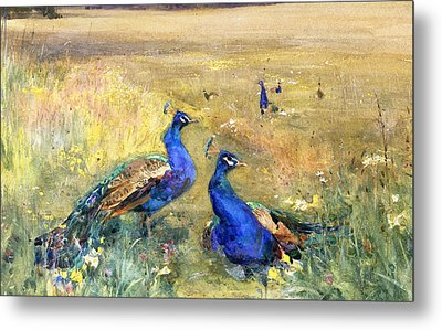 Peacocks In A Field Metal Print by Mildred Anne Butler