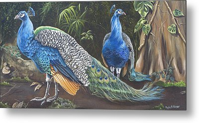 Peacocks In The Garden Metal Print by Phyllis Beiser