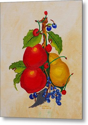 Pear And Apples Metal Print