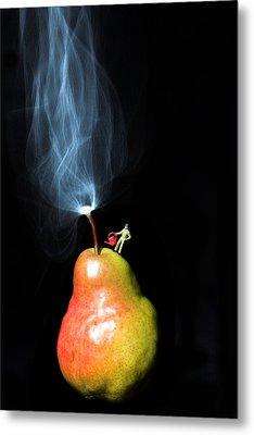 Pear And Smoke Little People On Food Metal Print by Paul Ge