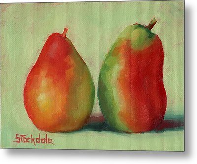 Metal Print featuring the painting Pear Pair by Margaret Stockdale