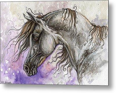 Pearl Arabian Horse Metal Print by Angel  Tarantella