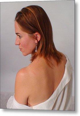 Pearl Earring Metal Print