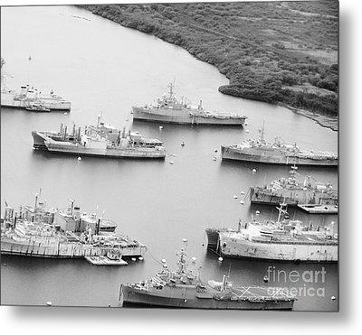 Pearl Harbor Battleships Metal Print