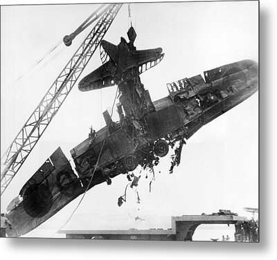 Pearl Harbor Plane Salvaged Metal Print by Underwood Archives