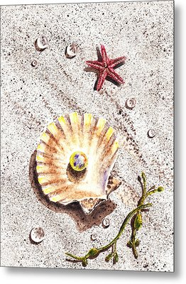 Pearl In The Seashell Sea Star And The Water Drops Metal Print by Irina Sztukowski