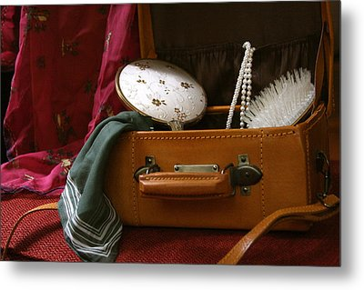Pearls And Brush Set In A Suitcase Metal Print
