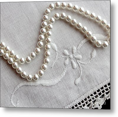 Pearls And Old Linen Metal Print by Barbara Griffin