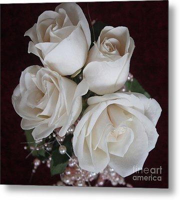 Pearls And Roses Metal Print by Nancy TeWinkel Lauren