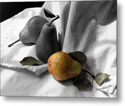 Metal Print featuring the photograph Pears - A Still Life by Terri Harper