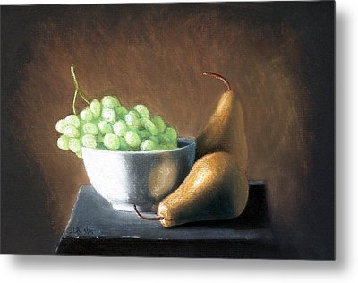 Metal Print featuring the painting Pears And Grapes by Joseph Ogle