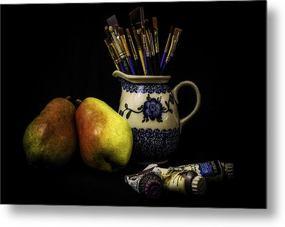 Pears And Paints Still Life Metal Print by Jon Woodhams
