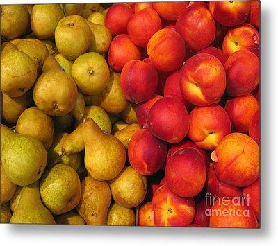 Pears And Peaches. Fresh Market Series Metal Print by Ausra Huntington nee Paulauskaite