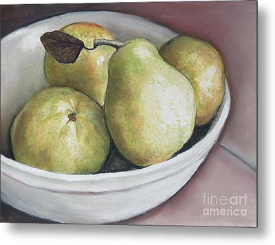 Pears In Bowl Metal Print by Charlotte Yealey