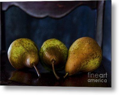 Pears On A Chair Metal Print