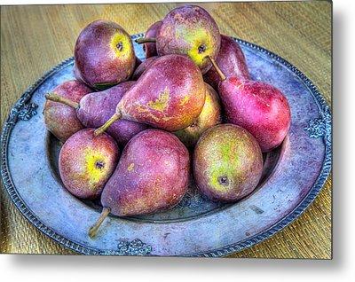 Pears On A Plate Metal Print by Victor Marsh