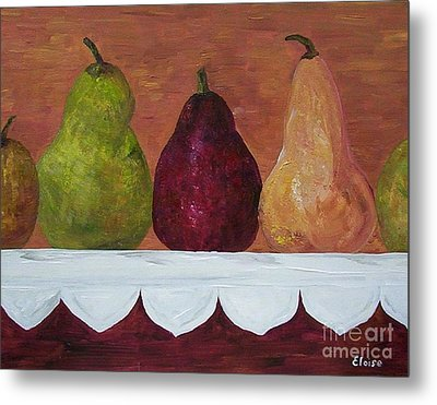 Metal Print featuring the painting Pears On Parade   by Eloise Schneider