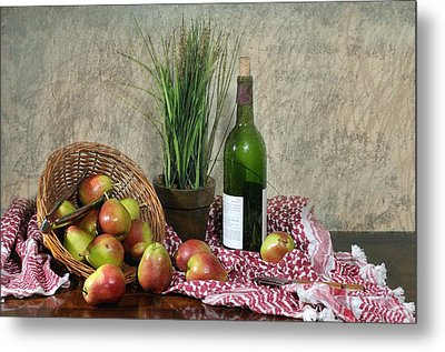 Pears On Red Cloth Metal Print by Diana Angstadt