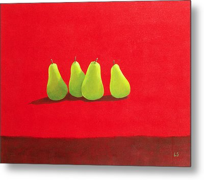 Pears On Red Cloth Metal Print by Lincoln Seligman
