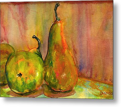 Pears Still Life Art  Metal Print by Blenda Studio