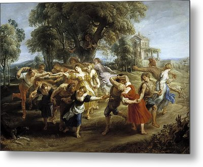 Peasant Dance Metal Print by Peter Paul Rubens