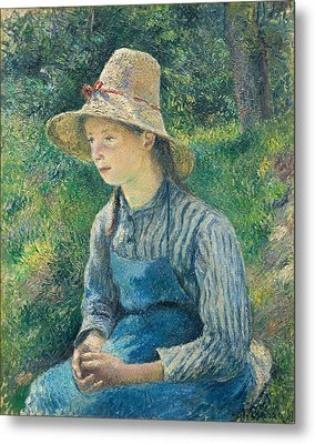 Peasant Girl With A Straw Hat Metal Print by Camille Pissarro