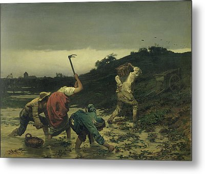 Peasants Harvesting Potatoes During The Flood Of The Rhine In 1852 Oil On Canvas Metal Print by Gustave Brion