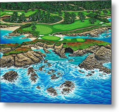 Pebble Beach 15th Hole-north Metal Print by Jane Girardot