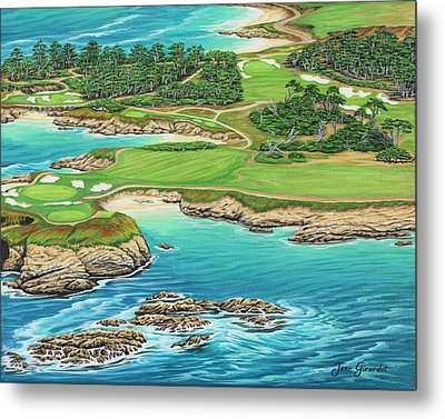 Pebble Beach 15th Hole-south Metal Print by Jane Girardot