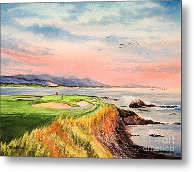 Pebble Beach Golf Course Hole 7 Metal Print by Bill Holkham