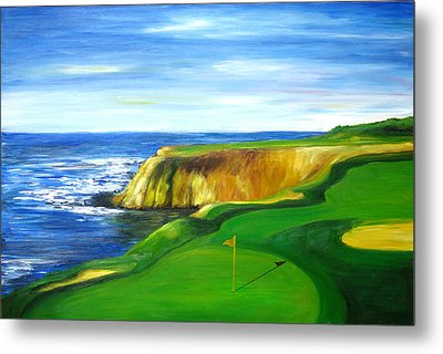 Metal Print featuring the painting Pebble Beach Golf Course by Sheri  Chakamian