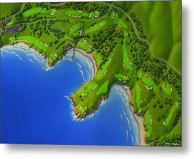Pebble Beach Golf Course Metal Print by Robin Moline