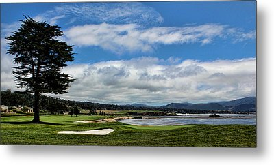 Pebble Beach - The 18th Hole Metal Print by Judy Vincent