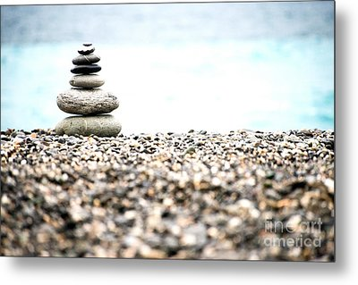 Pebble Stone On Beach Metal Print by Yew Kwang