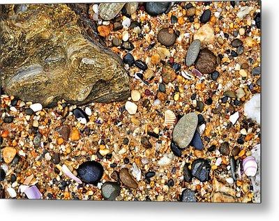 Pebbles And Sand Metal Print by Kaye Menner