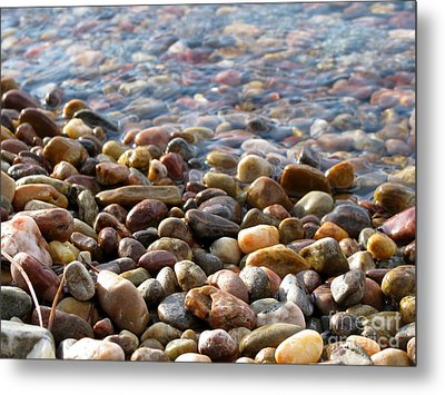 Pebbles On The Shore Metal Print by Leone Lund