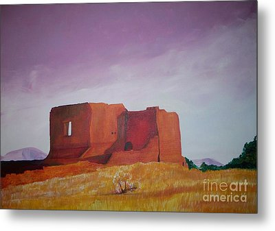 Metal Print featuring the painting Pecos Mission Landscape by Eric  Schiabor