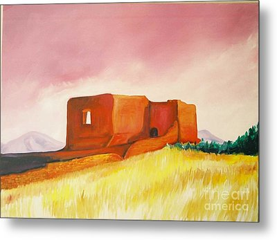 Metal Print featuring the painting Pecos Mission Nm by Eric  Schiabor