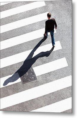 Pedestrain Crossing The Street On Zebra Metal Print