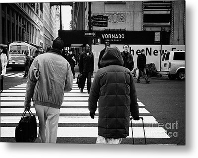 Pedestrians Crossing Crosswalk Carrying Luggage On Seventh 7th Ave Avenue Metal Print