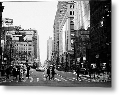 Pedestrians Crossing Crosswalk On West 34th Street And Sixth 6th Avenue At Herald Square New York Metal Print by Joe Fox