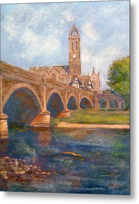Peebles  Bridge Inn And Parish Church Metal Print