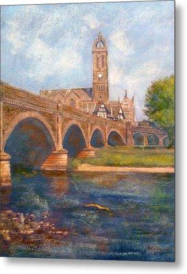 Peebles  Bridge Inn And Parish Church Metal Print by Richard James Digance