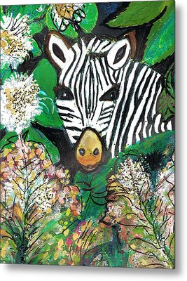 Peek-a-boo Zebra Metal Print by Anne-Elizabeth Whiteway