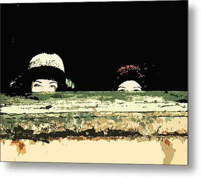 Peek-a-boo Metal Print by Zinvolle Art