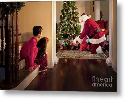 Peeking At Santa Metal Print by Diane Diederich