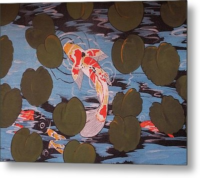 Peeking Koi Metal Print by Cindy Micklos