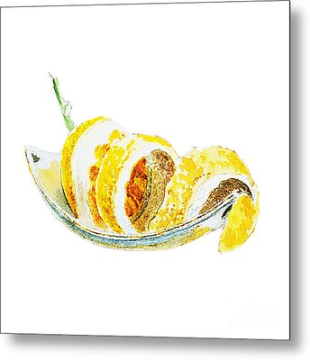 Peeled Lemon Metal Print