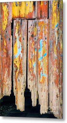 Peeling Door Metal Print by Carlos Caetano