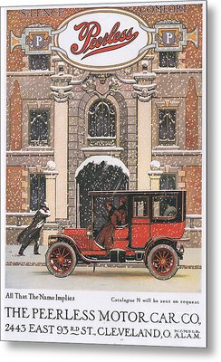 Peerless 1910s Usa Cars Winter Snow Metal Print by The Advertising Archives